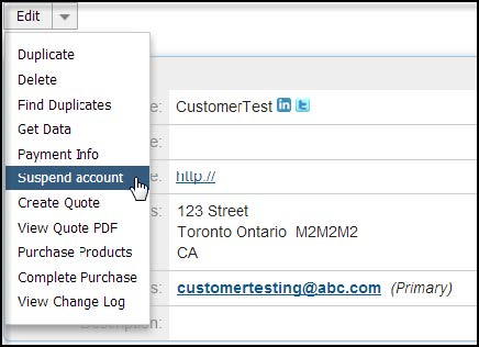 once the customer account is available in both sugarcrm and jbilling it is possible to activate or suspend the customer account at any time by selecting