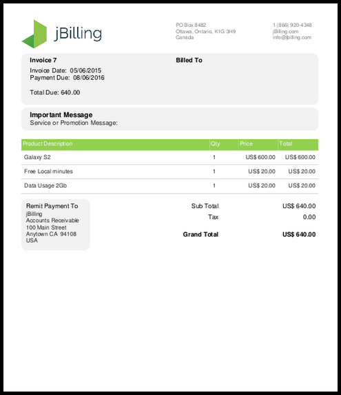 TE Feature Invoice Template Generator JBilling - Official invoice template